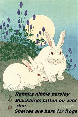 Poster featuring the painting Haiku  Rabbits Nibble Parsley by Pg Reproductions
