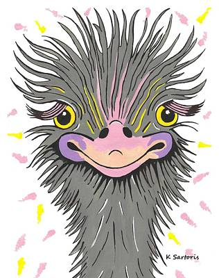 Hair Raising Day - Contemporary Ostrich Art Poster