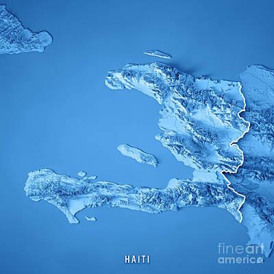 Haiti 3d Render Topographic Map Blue Border Poster