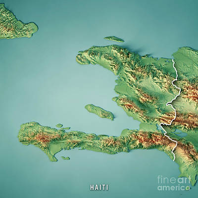 Haiti 3d Render Topographic Map Border Poster