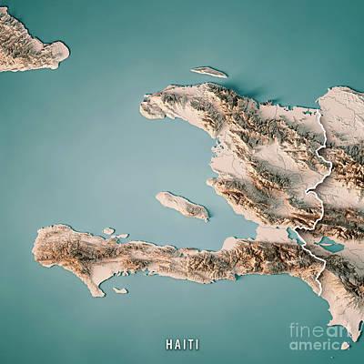 Haiti 3d Render Topographic Map Neutral Border Poster