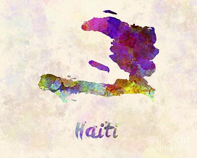 Haiti In Watercolor Poster by Pablo Romero