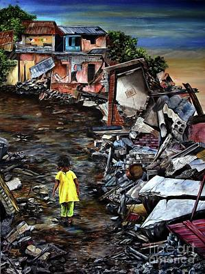 Poster featuring the painting Haiti Out Of The Rubble Hope by Anna-Maria Dickinson