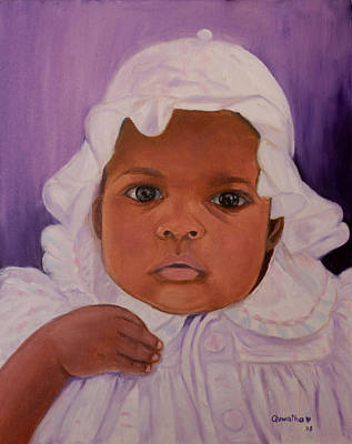 Poster featuring the painting Haitian Baby Orphan by Quwatha Valentine