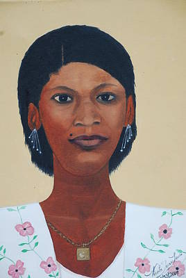 Poster featuring the painting Haitian Woman Portrait by Nicole Jean-Louis