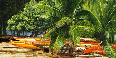 Hale'iwa Canoes And Coconuts Poster by Pati O'Neal
