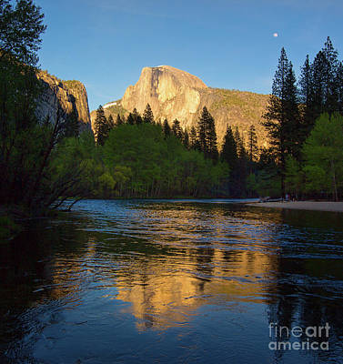 Half Dome And The Merced River With The Moon Poster