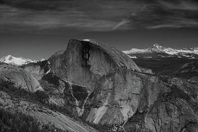 Half Dome From Columbia Rock In Black And White Poster