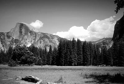 Half Dome Yosemite From The Meadow B And W Poster