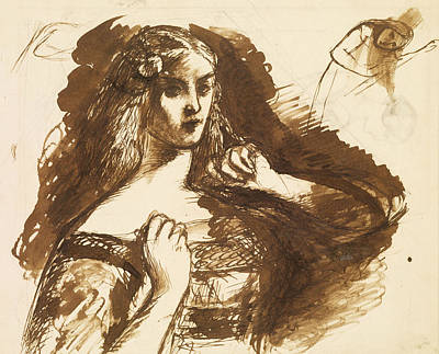 Half-length Sketch Of A Young Woman Poster by Dante Gabriel Rossetti