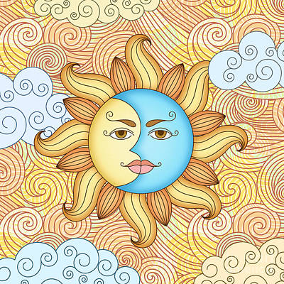Half Moon And The Sun Poster by Bedros Awak