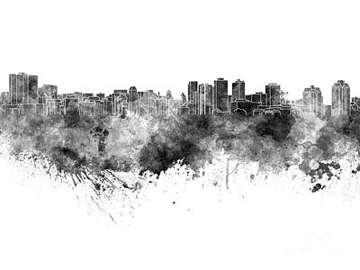 Halifax Skyline In Black Watercolor On White Background Poster