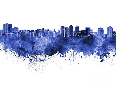 Halifax Skyline In Blue Watercolor On White Background Poster