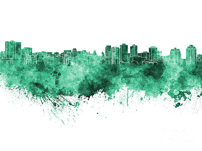 Halifax Skyline In Green Watercolor On White Background Poster