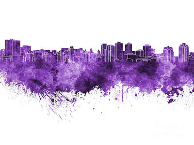 Halifax Skyline In Purple Watercolor On White Background Poster