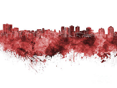 Halifax Skyline In Red Watercolor On White Background Poster