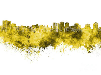 Halifax Skyline In Yellow Watercolor On White Background Poster