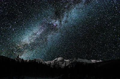 Poster featuring the photograph Hallet Peak - Milky Way by Gary Lengyel