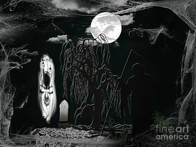 Halloween Background With Spooky Grave, Naked Tree And Bats. Poster