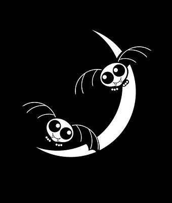 Halloween Bats And Crescent Moon Poster