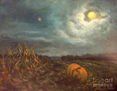 Halloween Mystery Under A Star And The Moon Poster by Randy Burns