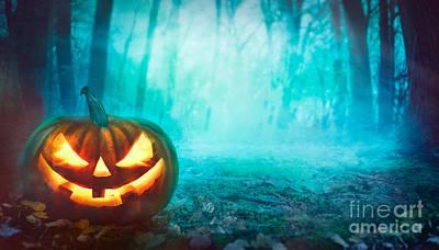 Halloween Pumpkin In Forest Poster
