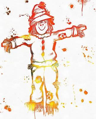 Halloween Scarecrow Paint Splatter Poster by Dan Sproul