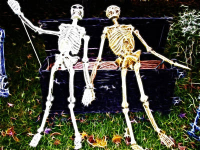 Halloween Skeleton Couple Poster