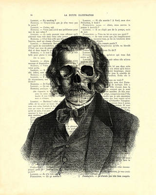 Halloween Skull Portrait In Black And White Poster by Madame Memento