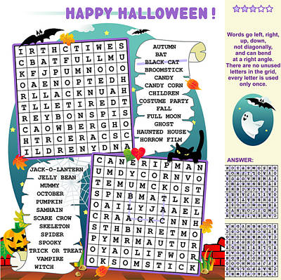 Halloween Wordsearch Puzzle Poster