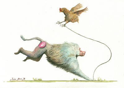 Hamadryas Baboon With Hen Poster