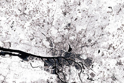 Hamburg Abstract City Map Black And White Poster by Frank Ramspott