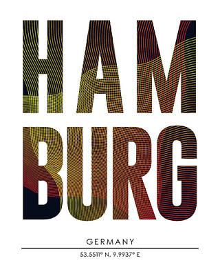 Hamburg City Print With Coordinates Poster