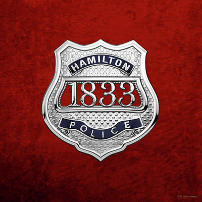 Hamilton Police Service  -  H P S  Commemorative Officer Badge Over Red Velvet Poster