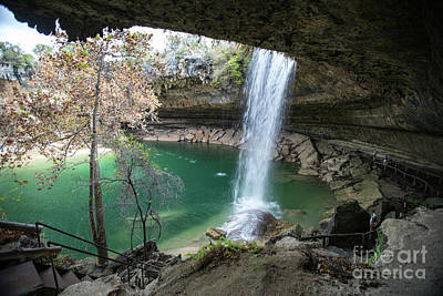 Hamilton Pool Preserve Is A Natural Spring Pool That Was Created When The Dome Of An Underground River Collapsed Thousands Of Years Ago. Poster