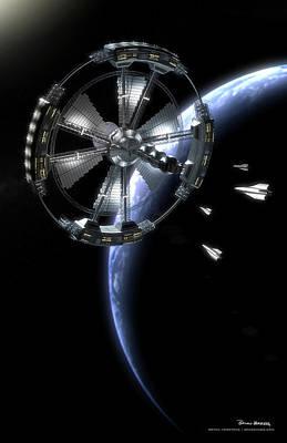 Poster featuring the digital art Hammer Station In Earth Orbit by Bryan Versteeg