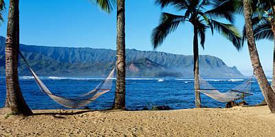 Hammocks Hanalei Bay Kauai Hawaii Poster by Panoramic Images