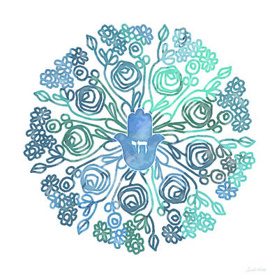 Hamsa Mandala 1- Art By Linda Woods Poster by Linda Woods