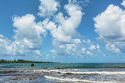 Hana Bay Beach Clouds Poster