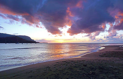 Hanalei Bay Sunset Kauai Poster by Kevin Smith