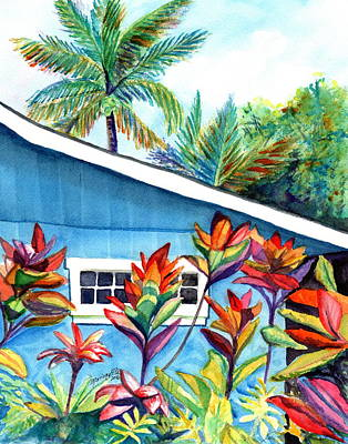 Poster featuring the painting Hanalei Cottage by Marionette Taboniar