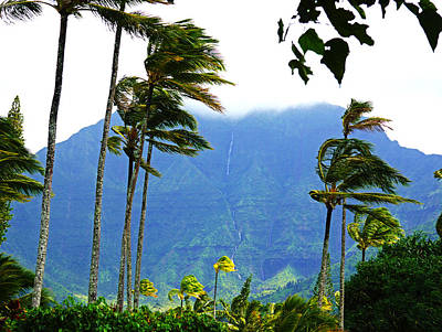 Hanalei Waterfalls Kauai Poster by Kevin Smith
