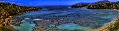 Poster featuring the photograph Hanauma Bay Panorama by Ellen Heaverlo