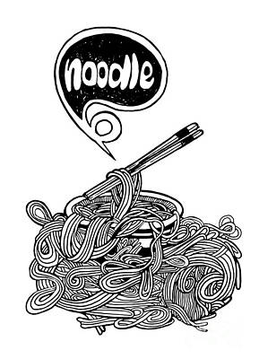 hand drawn doodle Noodle background Poster