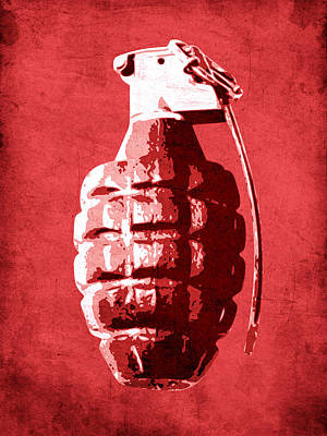 Hand Grenade On Red Poster by Michael Tompsett