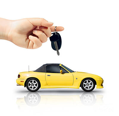 Hand Holding Key To Yellow Sports Car Poster