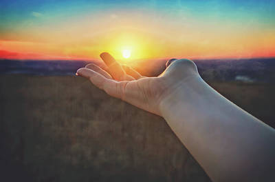 Poster featuring the photograph Hand Holding Sun - Sunset At Lapham Peak - Wisconsin by Jennifer Rondinelli Reilly - Fine Art Photography