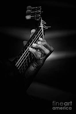 Hand Of A Guitarist In Monochrome Poster by Avalon Fine Art Photography