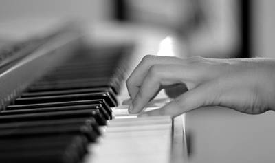 Hand On Piano Keyboard Poster