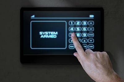 Hand Pressing Modern Home Security Poster